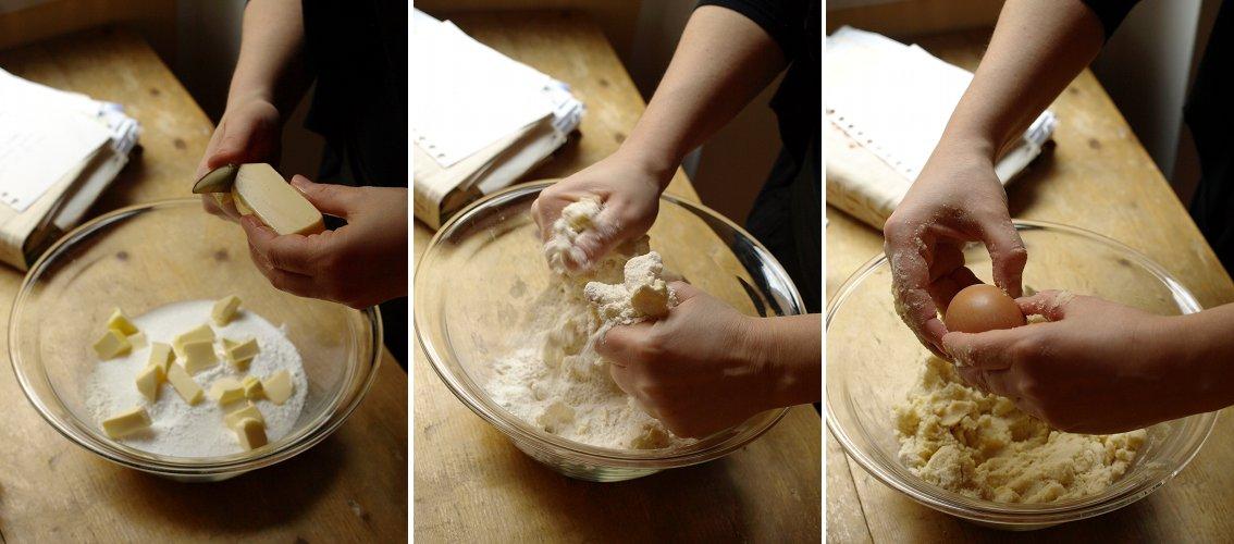 impastare ingredienti per la crostata di mele trentino