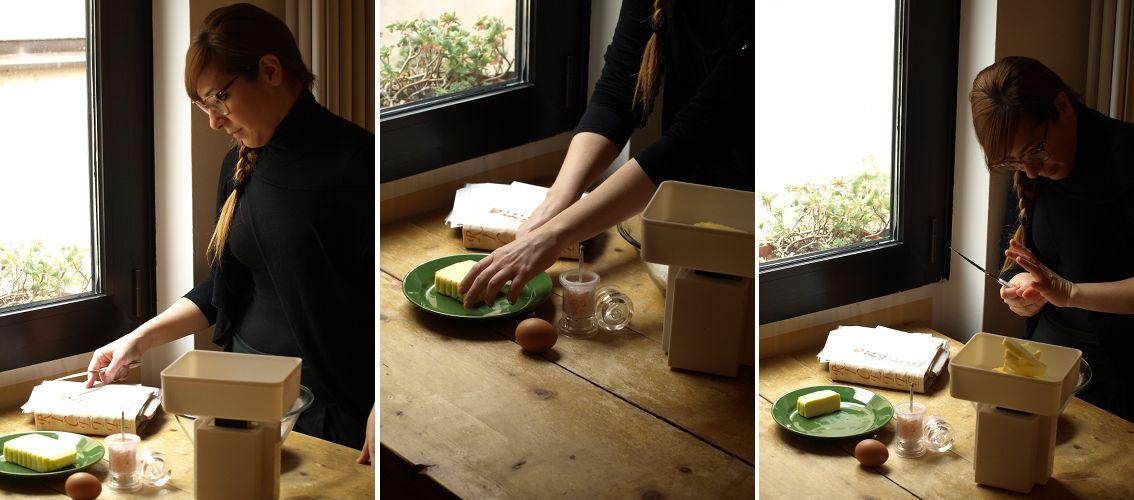 Susanna caldonazzi misura gli ingredienti per la ricetta della crostata di mele del Trentino