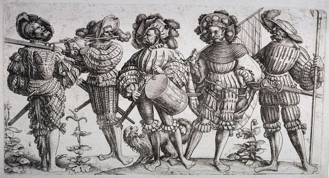 I cinque lanzichenecchi, acquaforte di Daniel Hopfer, ca. 1530